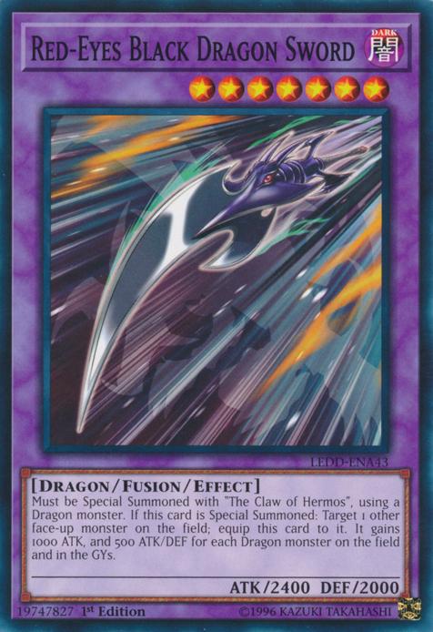 LEDD-ENA43-1ST EDITION YU-GI-OH CARD RED-EYES BLACK DRAGON SWORD