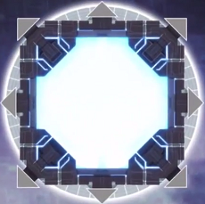A Link Summon in Yu-Gi-Oh! VRAINS, depicting a Circuit with inactive Link Arrows around it.