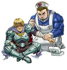"""""""Motivating Captain"""" and """"Muscle Medic"""" in the artwork of """"First-Aid Squad"""""""