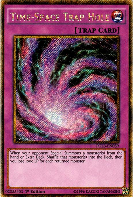 1st Edition Time-Space Trap Hole Yugioh PGL3-EN039 Gold Secret Rare