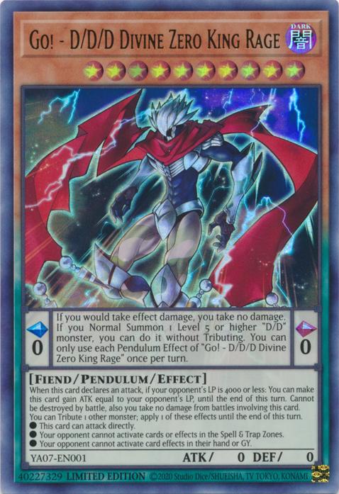 Yugioh 1x Go! D//D//D Divine Zero King Rage YA07-EN001 Ultra Rare 1st Ed NM//M
