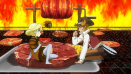 Nick asks Sweets Kakoko to grill meat with him.