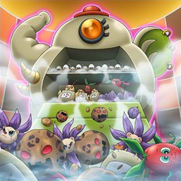 """Several """"Cookpal Eggong"""", """"Cookpal Cluckwheat"""", """"Cookpal Pumapotato"""", """"Cookpal Lionion"""" and """"Cookpal Rabbitomato"""" in the artwork of """"Food Cemetery"""""""