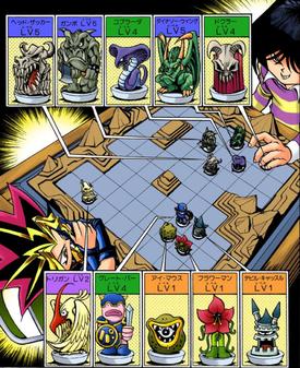 Mokuba and Dark Yugi with their monster lineups