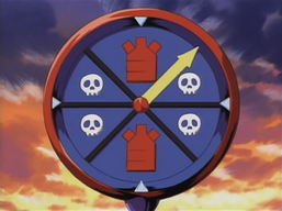 """""""Time Wizard"""" using its effect through its roulette staff."""