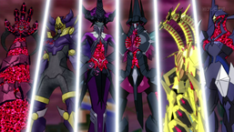 "Six of the seven ""Number C10X"" monsters belonging to the Barian Emperors (from left to right: C106, C105, C103, C101, C107 and C102)"