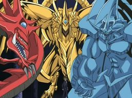 "From left to right: ""Slifer"", ""Ra"" and ""Obelisk"""