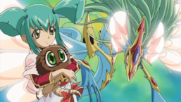 "Luna alongside ""Ancient Fairy Dragon"" and holding ""Kuribon""."
