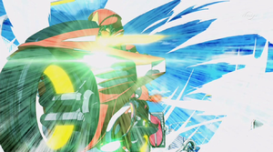 Yuya rides past Jack after defeating him in their final duel of the Friendship Cup.