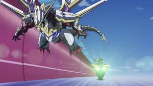 "Yuya brings out ""Odd-Eyes Saber Dragon""."