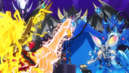 Yuga and Luke's ace monsters face off.