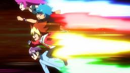 Yuga, Luke, Romin, and Gakuto rushing together.