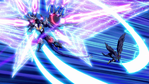 """Odd-Eyes Rebellion Dragon"" and ""Assault Blackwing - Chidori the Rain Sprinkling"" strike."