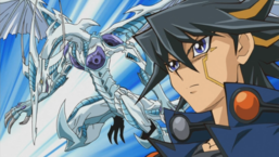 "Yusei alongside ""Stardust Dragon""."