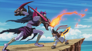 "Vowing to believe in Yuya, Gong prepares to clash with ""Shaman Battleguard""."
