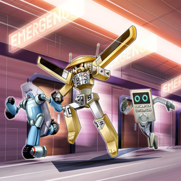 """Morphtronic Boarden"", ""Morphtronic Celfon"" and ""Morphtronic Remoten"" in the artwork of ""Morphtronics, Scramble!"""