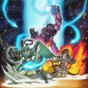 """Daigusto Emeral"", ""Number 30: Acid Golem of Destruction"", and ""Lavalval Chain"" in the artwork of Overlay Regen."