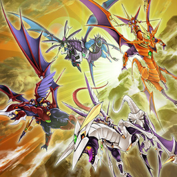 """Dragunity Knight - Gae Bulg"", ""Gae Dearg"", ""Vajrayana"", and ""Luin"", in the artwork of ""Dragunity Legion""."