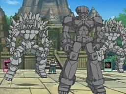"""""""Ancient Giant"""" (center) with two """"Stone Giants""""."""