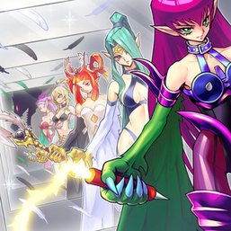 "From left to right: ""Harpie's Pet Dragon"", ""Harpie Perfumer"", ""Harpie Dancer"", ""Harpie Channeler"", ""Harpie Queen"" and ""Cyber Harpie Lady"" in the artwork of ""Alluring Mirror Split""."