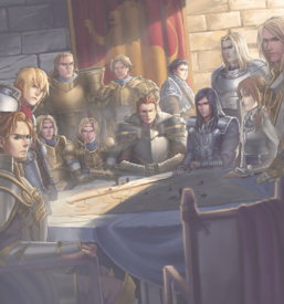 """""""Noble Knight"""" monsters in the artwork of """"Noble Knights of the Round Table""""."""