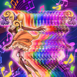 """Aria the Melodious Diva"" in the artwork of ""Melodious Illusion""."