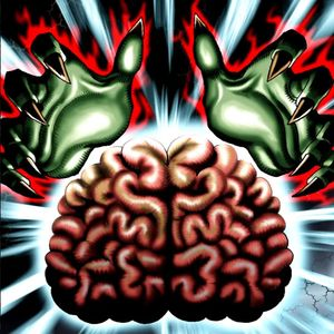 "Artwork of ""Brain Control"", a card that changes control of monsters"