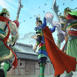 """""""Valiant Zhang De"""", """"Virtuous Liu Xuan"""", and """"Loyal Guan Yun"""" in the artwork of """"Ancient Warriors Saga - Three Visits"""""""