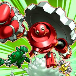 """Green Gadget"", ""Red Gadget"" and ""Yellow Gadget"" in the artwork of ""All-Out Attacks"""