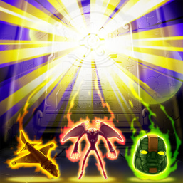 """Chronomaly """"Golden Jet"""", """"Crystal Chrononaut"""" and """"Colossal Head"""", in the artwork of """"Chronomaly Pyramid Eye Tablet"""""""