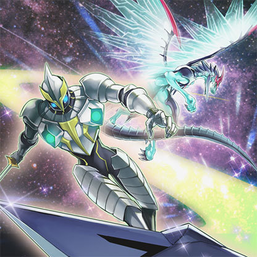 """Galaxy Knight"" and ""Galaxy-Eyes Photon Dragon"", in the artwork of ""Galaxy Expedition""."