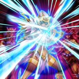 """""""Amazoness Paladin"""", """"Amazoness Swords Woman"""" and one of the Amazoness Archers in the artwork of """"Half Counter"""""""
