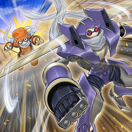 """""""Junk Warrior"""" and """"Junk Synchron"""" in the artwork of """"Synchro Chase""""."""