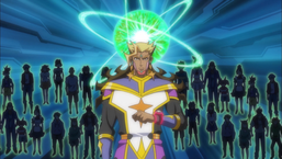 Bohman hears the voices of the trapped LINK VRAINS telling him what Playmaker will do.