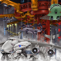 """Blackfalcon"", ""Coltwing"", ""Hamstrat"", ""Dracossack"", ""Stealthray"" and ""Warbluran"" in the artwork of ""Xyz Override"""