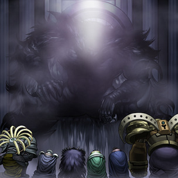 "From left to right: ""Zaborg"", ""Mobius"", ""Caius"", ""Raiza"", ""Thestalos"", and ""Granmarg"" kneeling before ""Erebus"", in the artwork of ""Domain of the True Monarchs"""