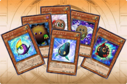 "On the arch, from left to right: ""Rainbow Kuriboh"", ""Kuriboh"", ""Kuribon""[note 1], ""Winged Kuriboh"" and ""Kurivolt""[note 1]; center: ""Kuriphoton""[note 1]"