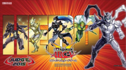 """From left to right: """"Masked HERO Dark Law"""", """"Masked HERO Koga"""", """"Elemental HERO Shadow Mist"""", """"Masked HERO Divine Wind"""" and """"Contrast HERO Chaos"""""""