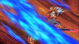 """Soulburner draws with the effect of his """"Burning Draw""""."""
