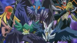 "From left to right: ""Blackwings"": ""Bora the Spear"", ""Gale the Whirlwind"", ""Shura the Blue Flame"", ""Mistral the Silver Shield"" and ""Armor Master""."