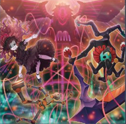 """Number C88: Gimmick Puppet Disaster Leo"", ""Bisque Doll"", ""Magnet Doll"" and ""Twilight Joker"" in the artwork of ""Puppet Parade""."