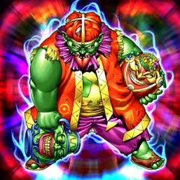 """""""Goblin of Greed"""" holding """"Pot of Greed"""" and """"Jar of Greed"""""""