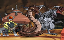 "From left to right: ""Leon the Lead"", ""Ouroboros the Bronze"" and ""Salamandra the Steel""; Back: ""Chaos Distill"""