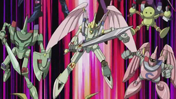 """""""Valkyrion the Magna Warrior"""" surrounded by """"Alpha The Magnet Warrior"""", """"Beta The Magnet Warrior"""" and """"Gamma The Magnet Warrior"""""""