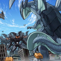 """Radian"" and ""Gameciel"" in the artwork of ""Kaiju Capture Mission""."