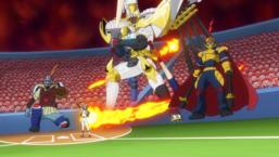 "Yuka prepares to unleash the effect of ""Uniform No. 39: Junior Baseball King, Home""."