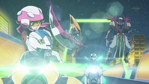 The Duel Chaser pursues Yugo and Zuzu, with both his and Yugo's monsters ready to strike.