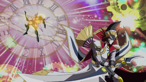 """""""Enlightenment Paladin"""" destroys """"Battlewasp - Hama the Conquering Bow""""."""