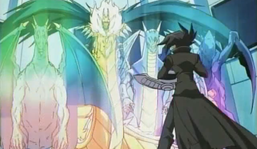 """""""Luster Dragon #2"""" (left), with """"Hyozanryu"""" and """"Luster Dragon"""" (right), along with """"King Dragun"""" (center)."""