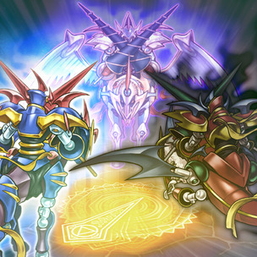"""""""Gaia Drake, the Universal Force"""", """"Gaia Knight, the Force of Earth"""", and """"Gaia Dragon, the Thunder Charger"""" in the artwork of """"Tri-and-Guess""""."""